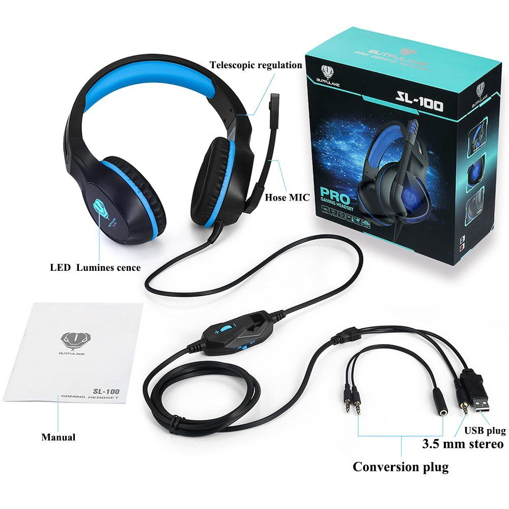 Gaming Headset Xbox One Ps4 Pc Mac Headphones Mic Led Light Blue Pc Xbox Gaming Headset Headset Headphones Video Game Stores