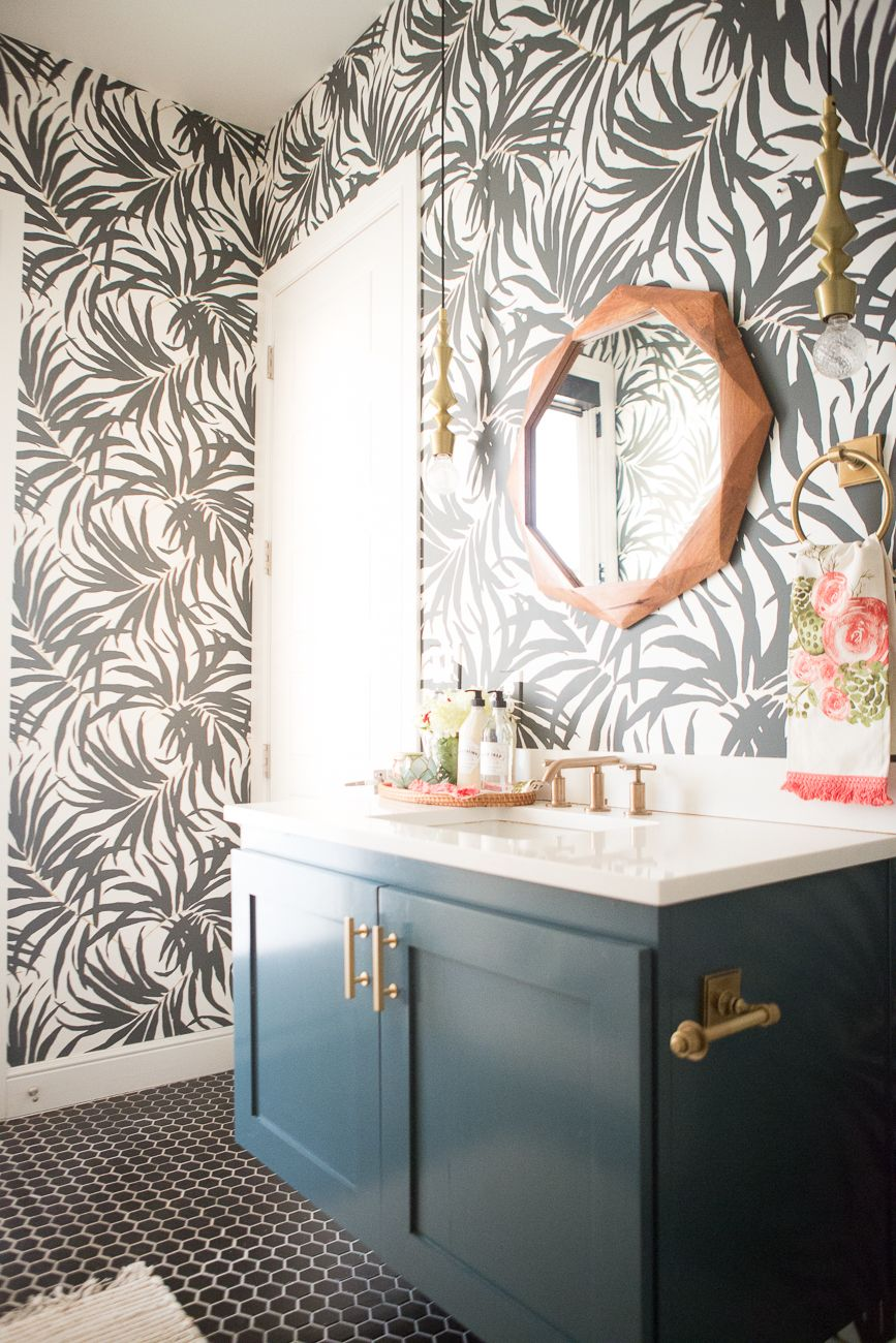 Pool Bathroom Reveal Styled By Cost Plus World Market Cc And Mike Blog Pool Bathroom White Wood Wallpaper Bathroom Mirror