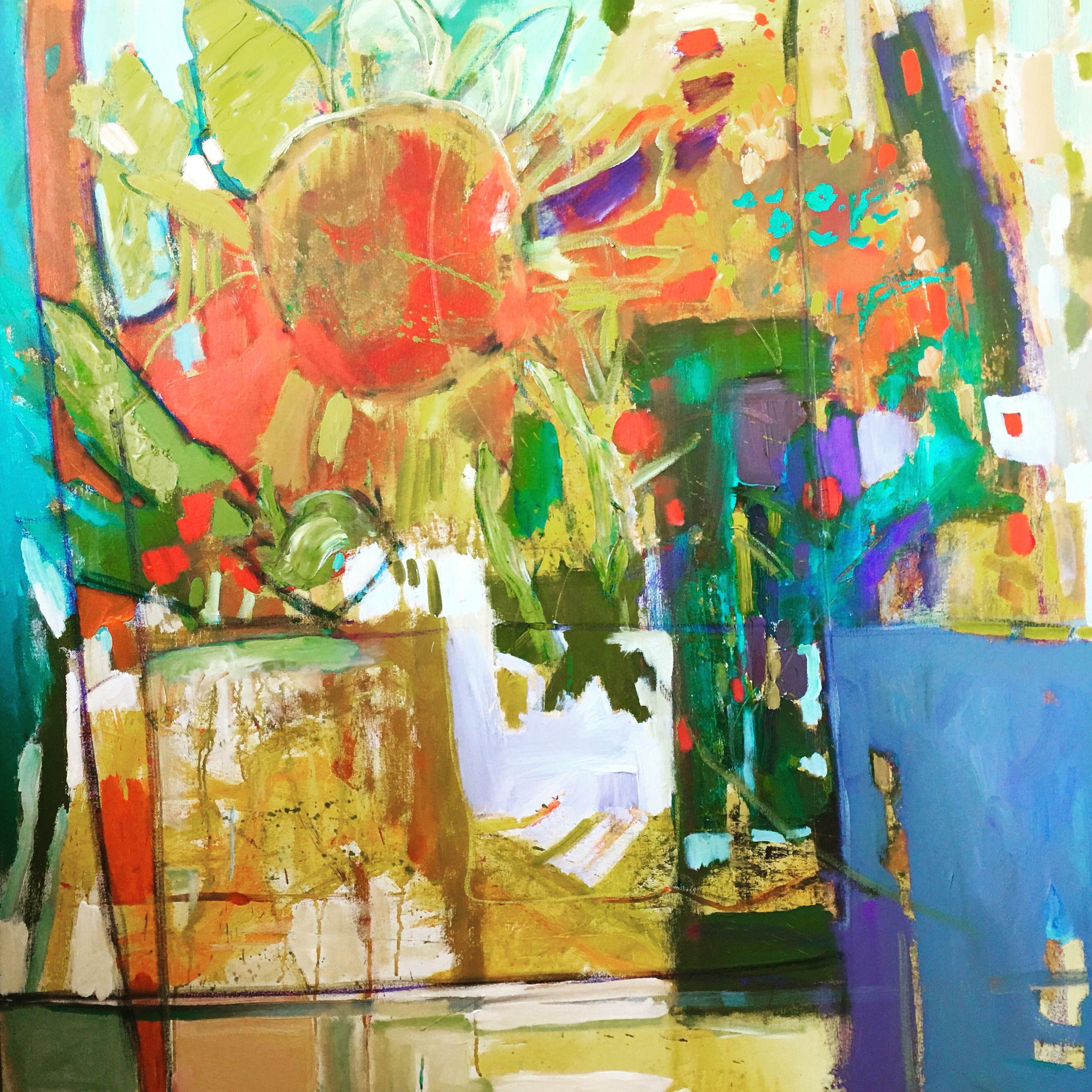 48x48 acrylic mixed media abstract painting painting art