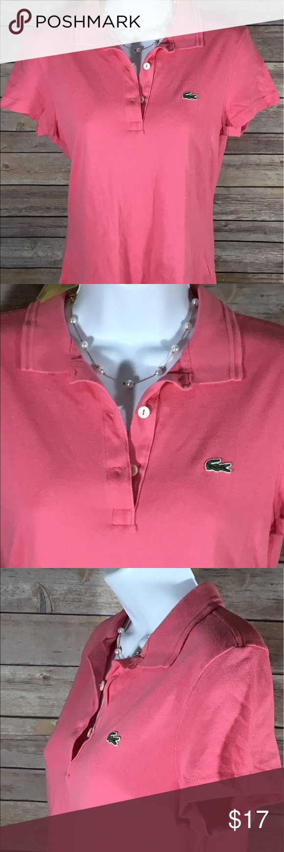 Lacoste Womens Pink Polo Short Sleeve Shirt 38
