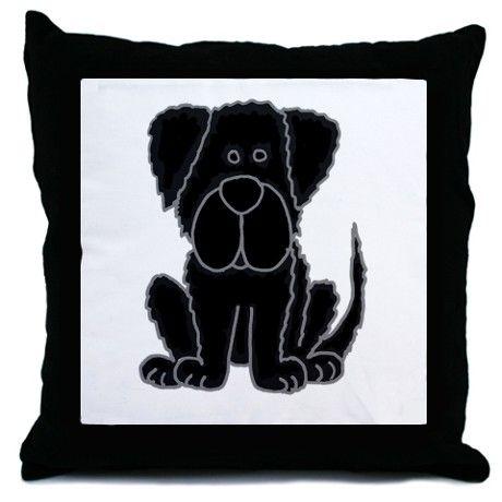 Adorable black Newfoundland puppy dog cartoon pillow #Newfoundlands #dogs #pets #black #funny #pillows #gifts