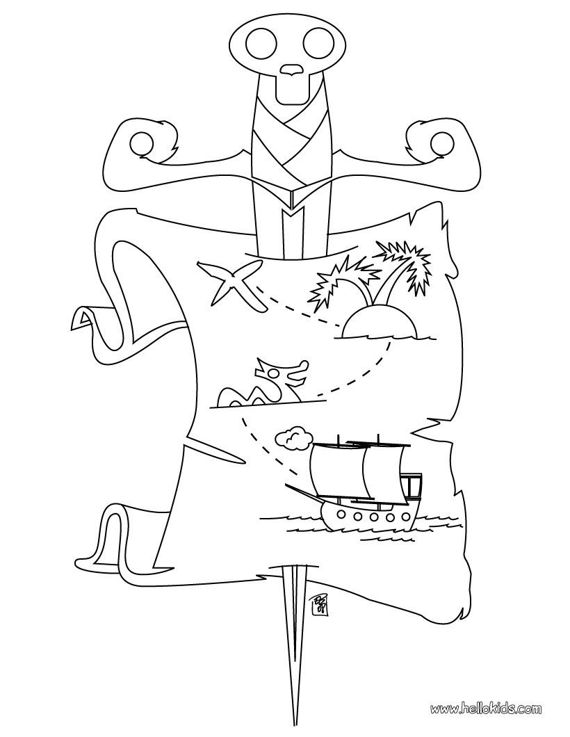 Pirate Treasure map coloring page Twinkle Twinkle Little