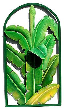 Banana Leaves Metal Wall Hanging Hand Painted Tropical Plant Design Outdoor Garden Art Patio Decor 20 X 36 By Tropicaccents