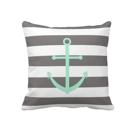 Dark Grey and Mint Anchor Pillow