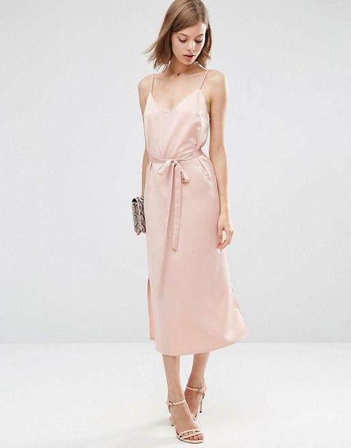 2997a48cc01d ASOS | ASOS Midi Slip Dress in Satin With Tie Waist | Wedding shit ...
