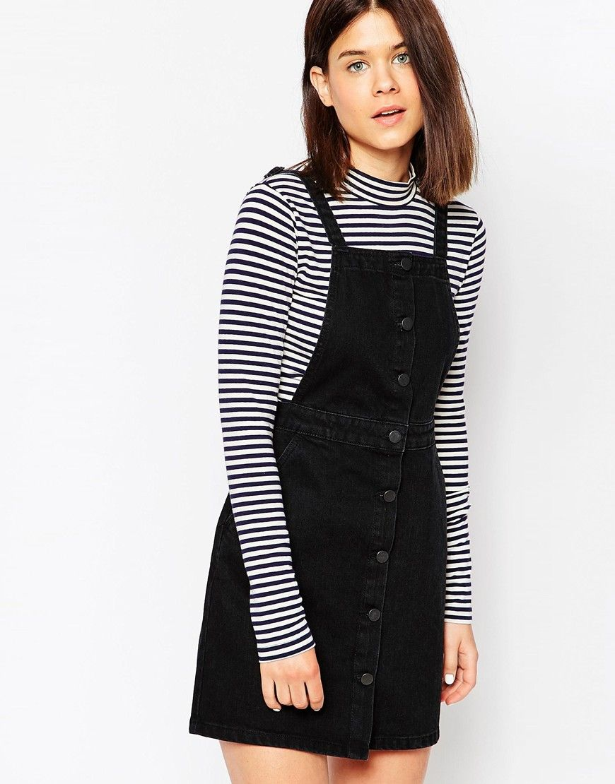 d704824452a Image 1 of ASOS Denim Aline Button Through Pinafore Dress In Washed Black