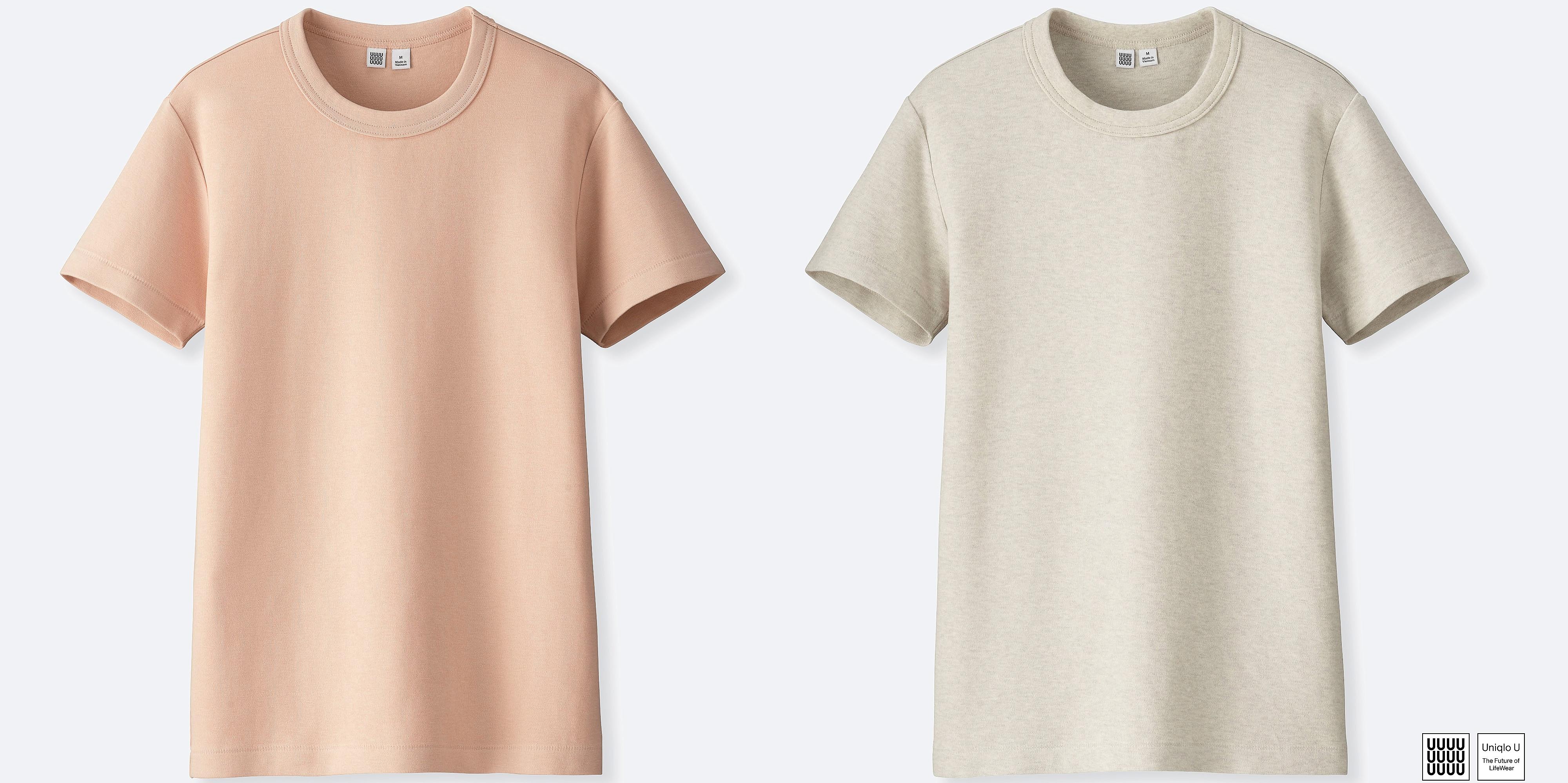 6d3002882 2017 UNIQLO U crew neck short sleeve cotton t-shirt Gray Pink