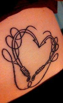 Fishing hook heart tattoo :) this would be too precious is the fishing line spelt out something ...
