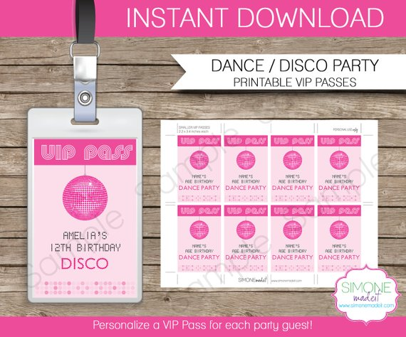 photo about Free Printable Vip Pass Template identify Disco Dance Bash VIP P printable increase - Prompt