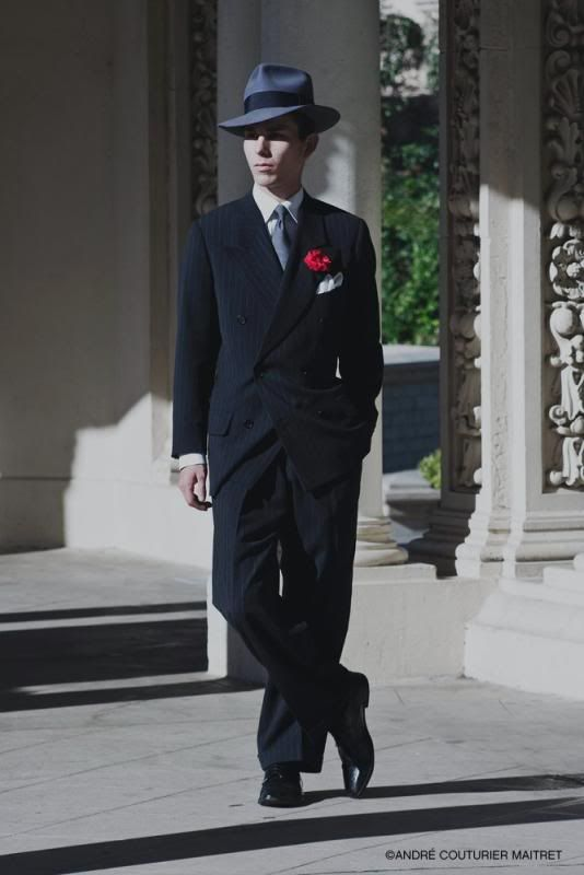 italian vintage mafia double breasted dark suit red rose fedora ...