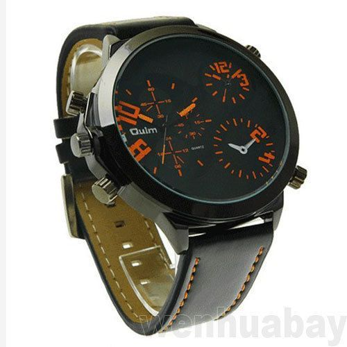 Luxury Mens Leather Black Band Oulm Military Quartz Sports Wrist Watch Hour Gift