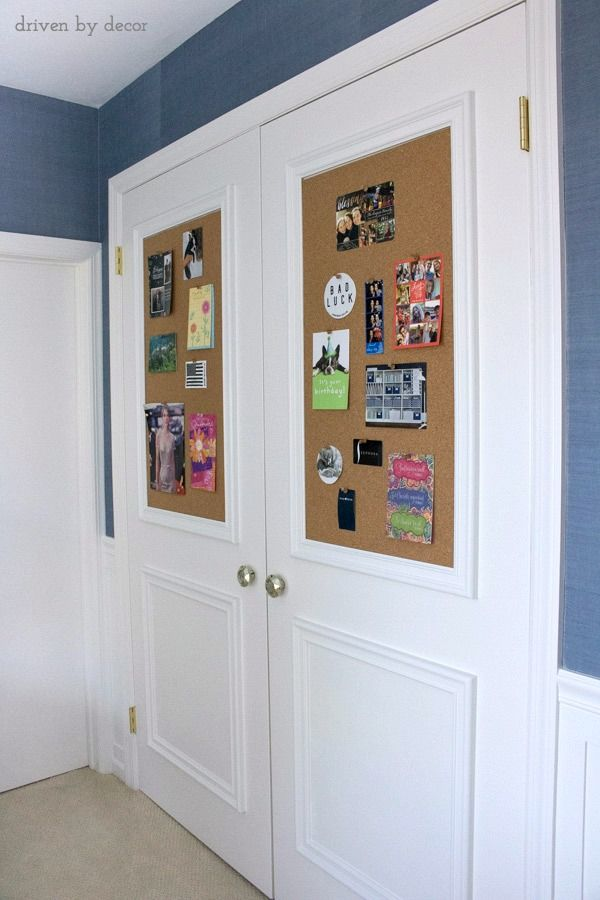 Cork Board Closet Doors Boring Flat Doors No More | Diy cork board Closet doors and Cork boards & Cork Board Closet Doors: Boring Flat Doors No More | Diy cork board ...