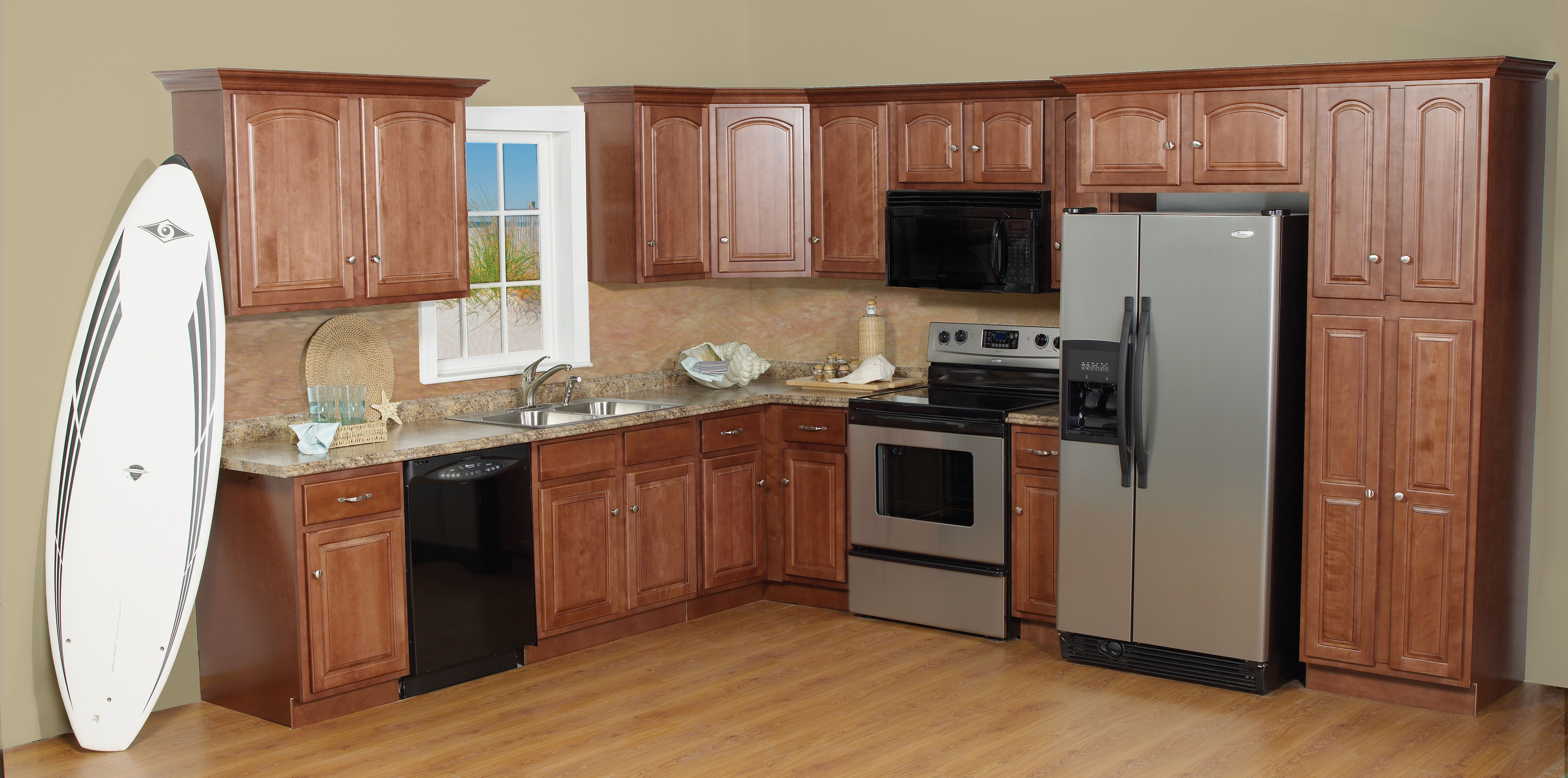 Window under kitchen cabinets   stop construction supplies cabinets  granite counter tops