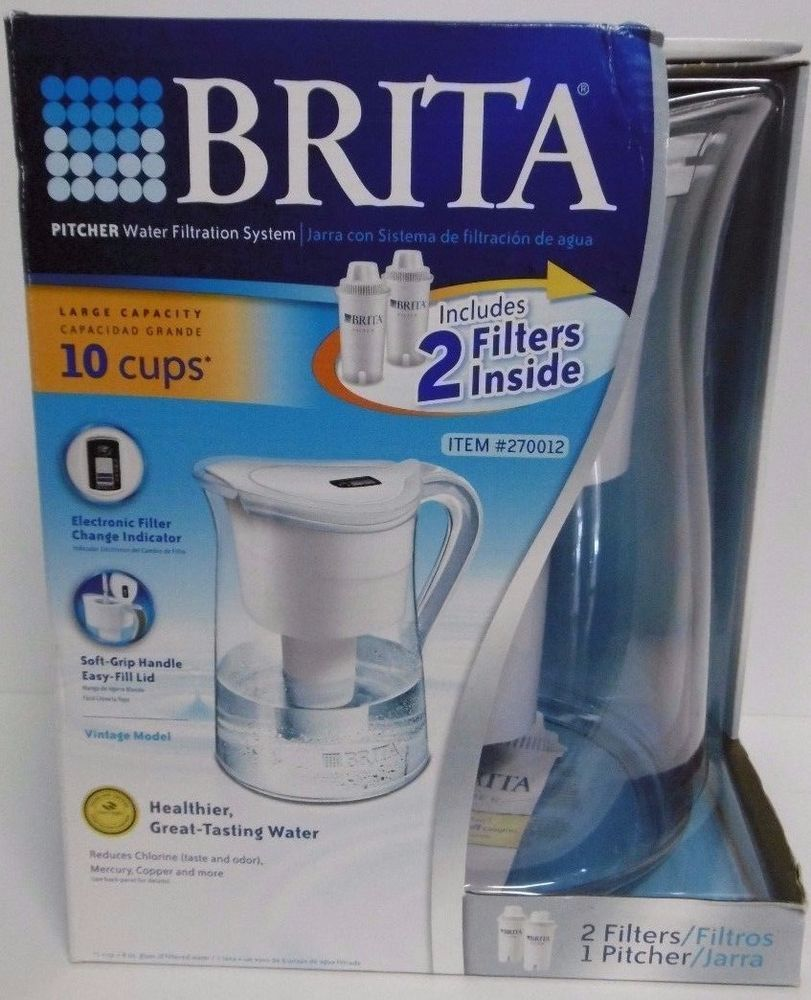 Brita 10 cups pitcher water filtration system incl 2