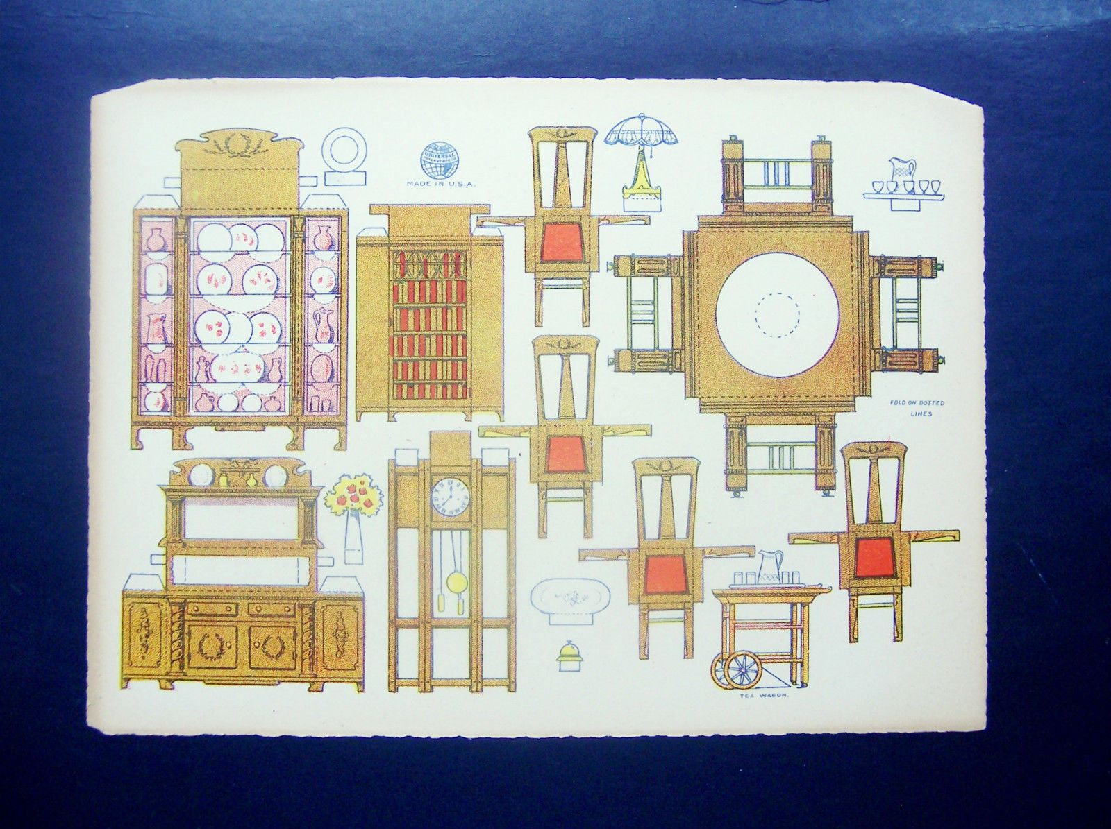 VINTAGE UNIVERSAL SHEET OF DOLLHOUSE DINING ROOM FURNITURE FROM THE EARLY  1900u0027S | EBay