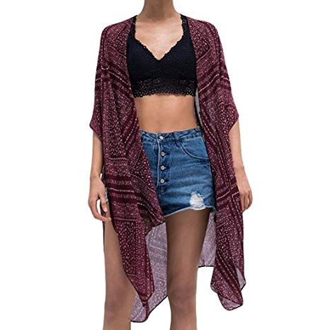 e955ed03d0 Pervobs Women Cover Ups Big Promotion! Womens Loose Beach Cover up Swing  Kimono Cardigan with Bohemian Smock Floral Coat (L, Purple)