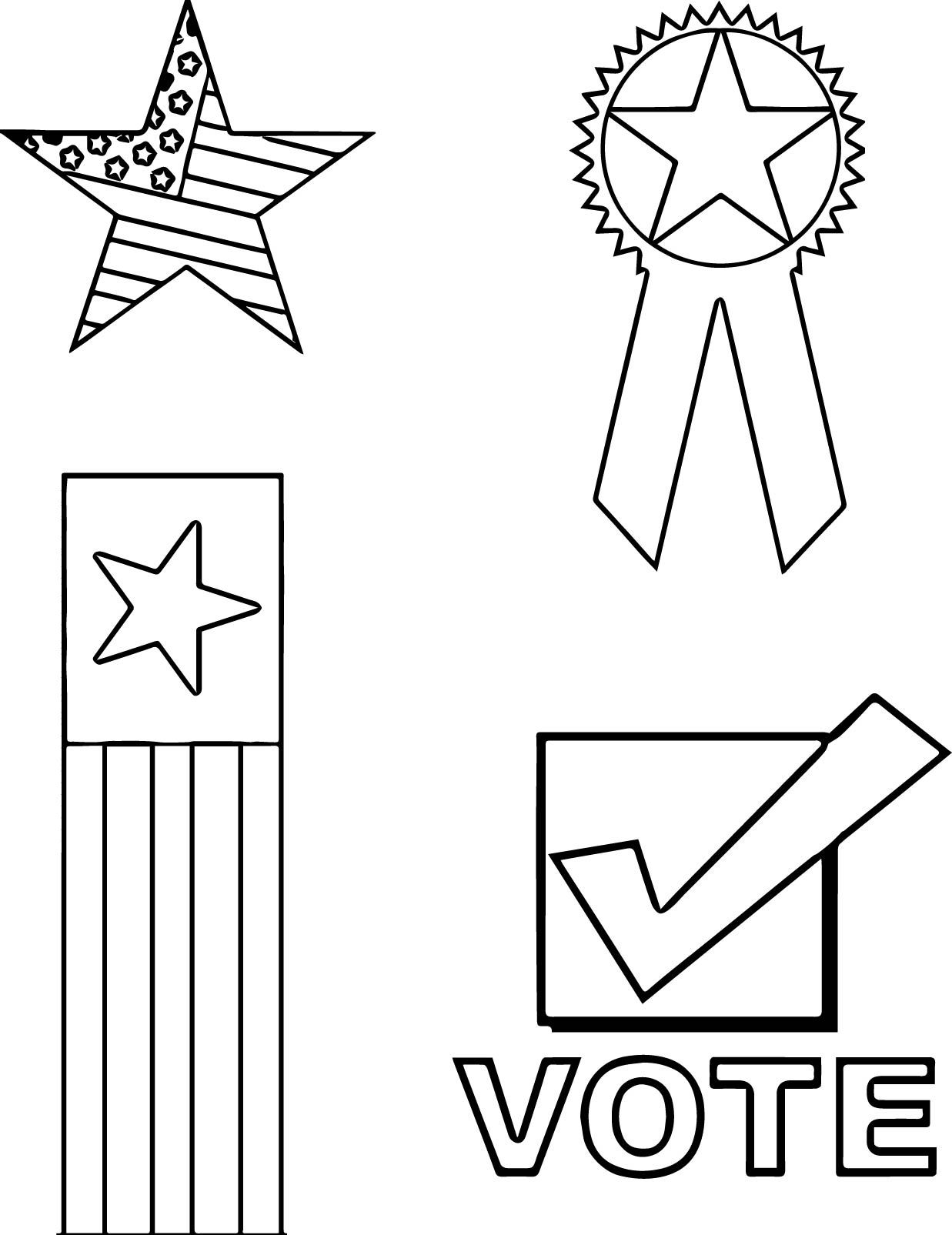 Nice 4th Of July Vote Flag Star Coloring Page Star Coloring