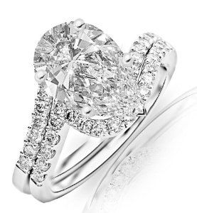 1.99 Carat Pear Cut / Shape 14K White Gold Curving Pave & Prong-set Round Diamond Engagement Ring ( J Color , VS2 Clarity ) - http://finejewelrygalleria.com/jewelry/wedding-anniversary/engagement-rings/199-carat-pear-cut-shape-14k-white-gold-curving-pave-prongset-round-diamond-engagement-ring-j-color-vs2-clarity-com/ - Product View