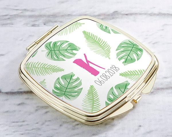 Personalized Gold Compact - Pineapples and Palms