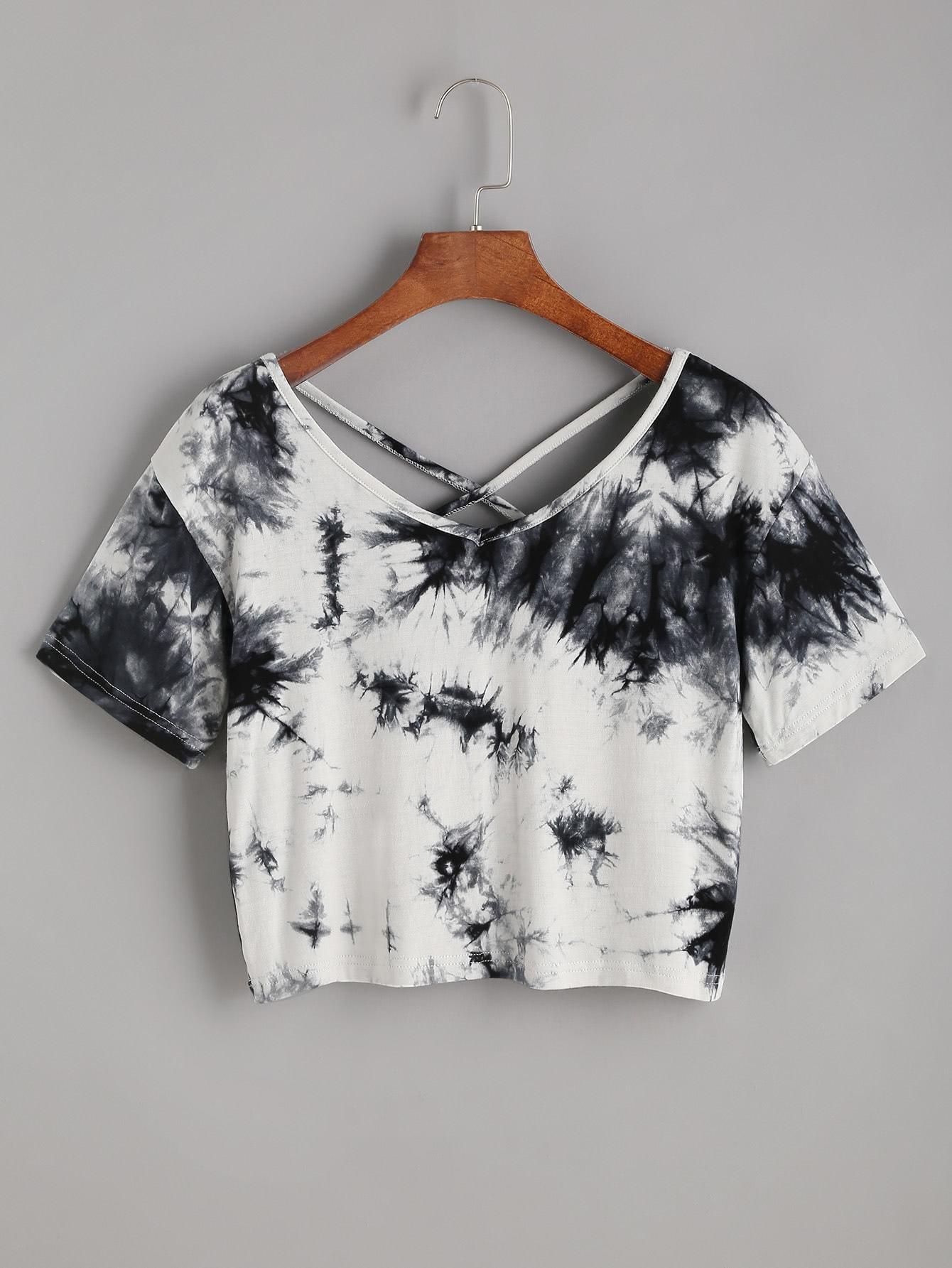 5729720ca4e80 Tie Dye Criss Cross Back Crop T-shirt in 2019