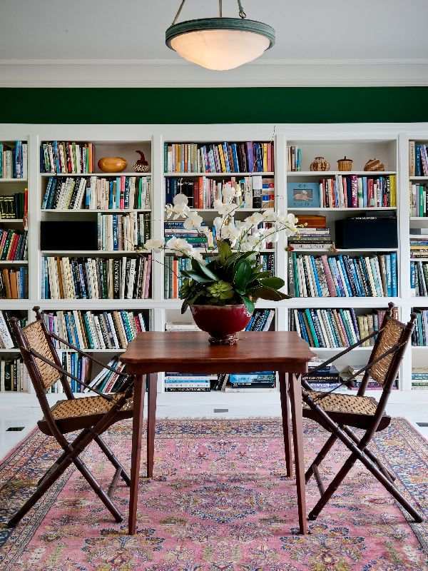 Wall Bookshelf With Forest Green Top Strip Dining Nook