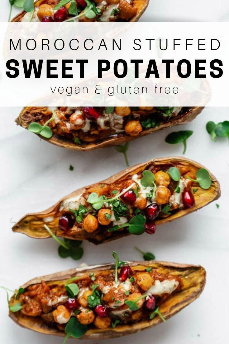 These Moroccan stuffed sweet potatoes are stuffed with spiced eggplant, chickpeas and tahini for a healthy vegetarian & vegan recipe that you'll love!