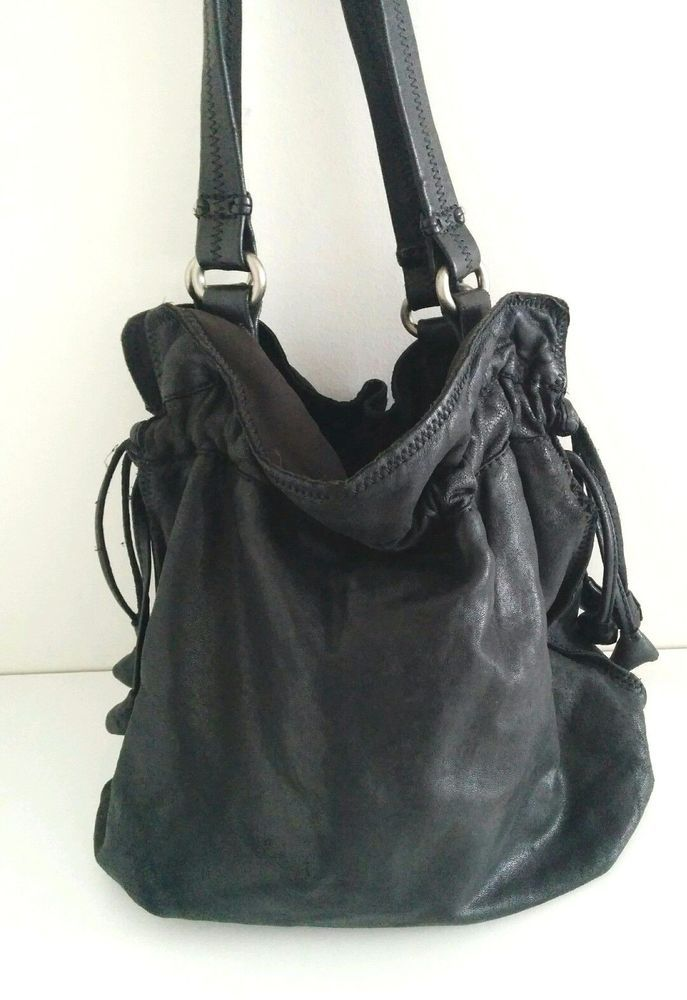 Lucky Brand Italian Lamb Leather Bucket Purse Shoulder Bag Drawstring Tote  black  LuckyBrand  ShoulderBag 0b43b2a8a78ac