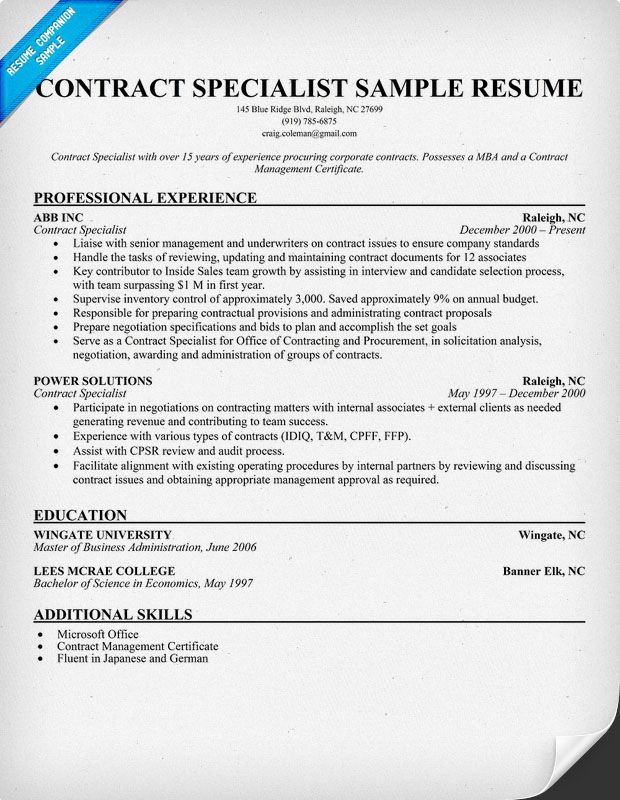 Help with a Contract Specialist Resume (resumecompanion - sample contract summary template