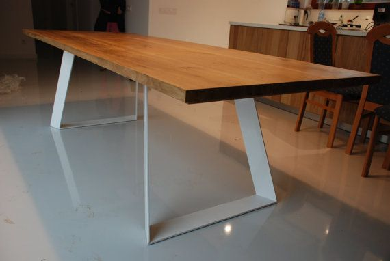 A Hand Made To Order Table Solid Wood Table Top On Steel Base Natural Hard Wax Oil Finish Whi Mesa De Comedor De Roble Mesas De Comedor Mesa De Madera Maciza