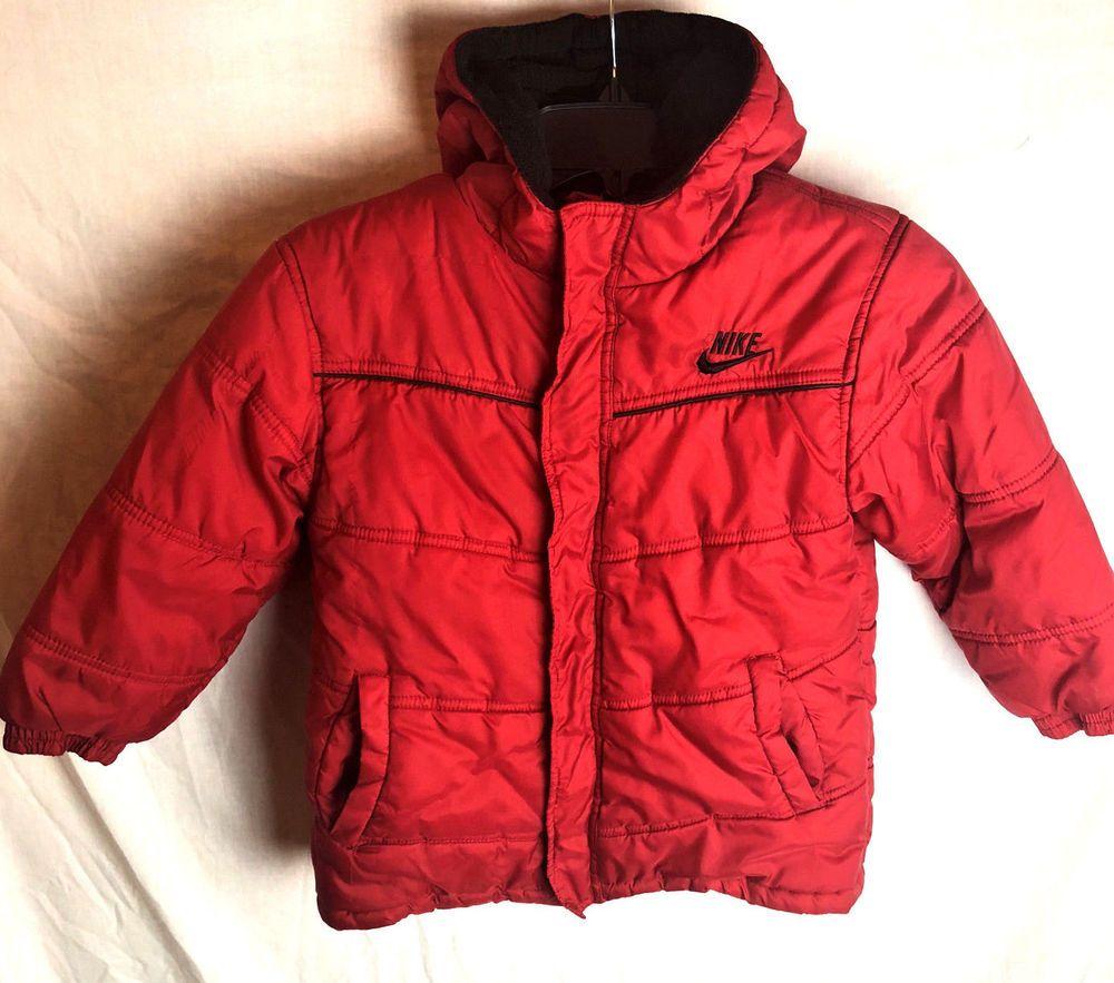8e85d9244d30 Nike Boys Hooded Puffer Jacket Coat Size 7 Red  Nike  PufferJacket ...