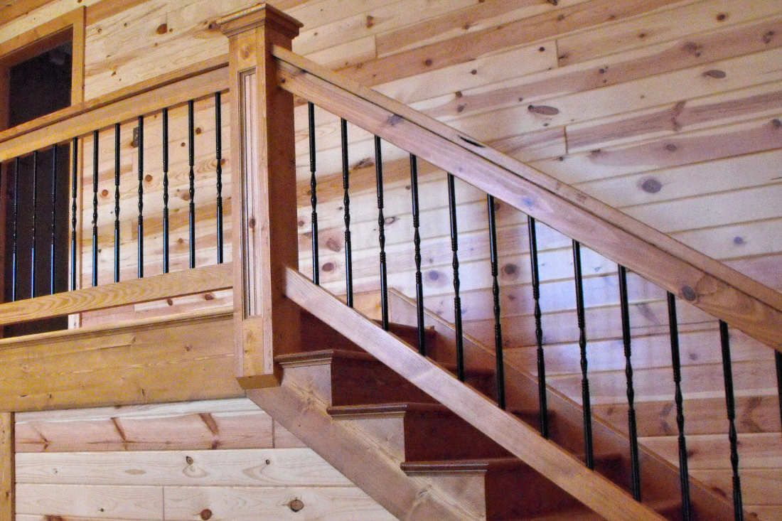Knotty Pine Paneling 1x6 Tongue Groove Clear Finish Staircase Knotty Pine Walls Knotty Pine Paneling Rustic Stairs