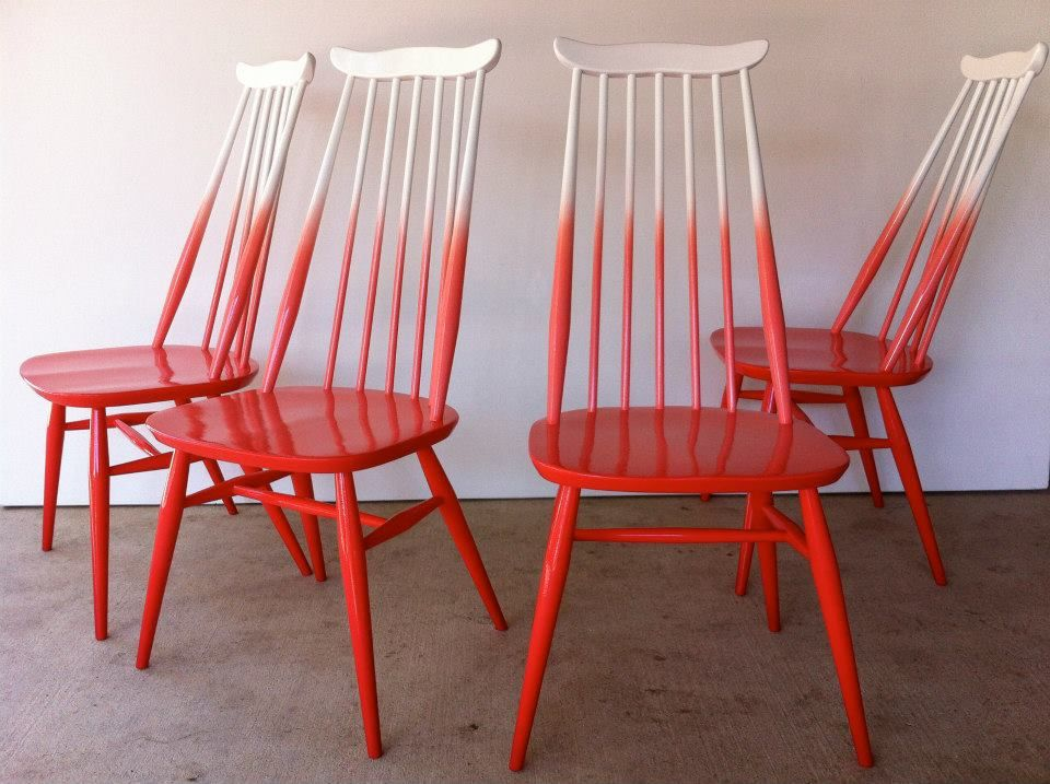 Red ombre chairs