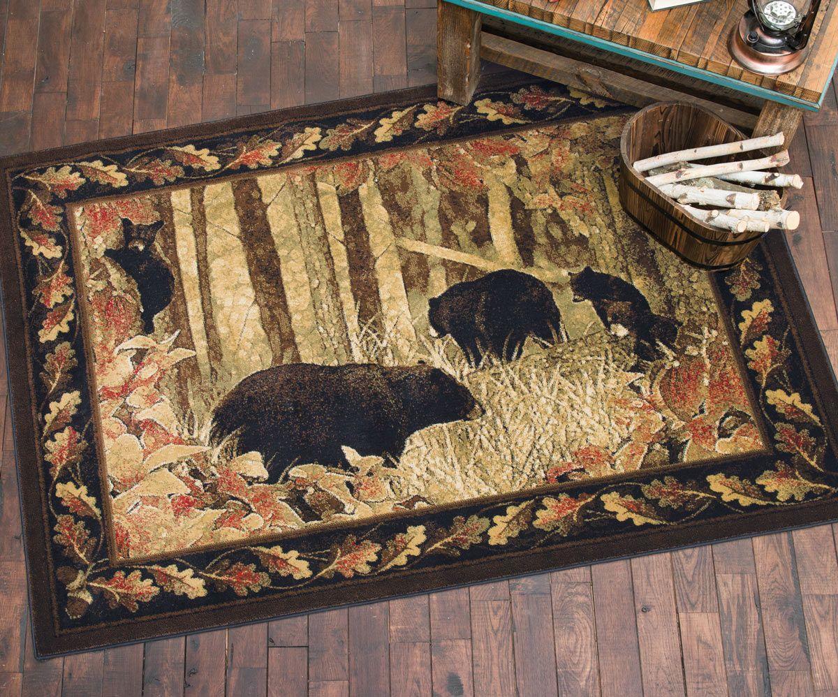 scenic black bear rug - 5 x 7   area rugs   pinterest