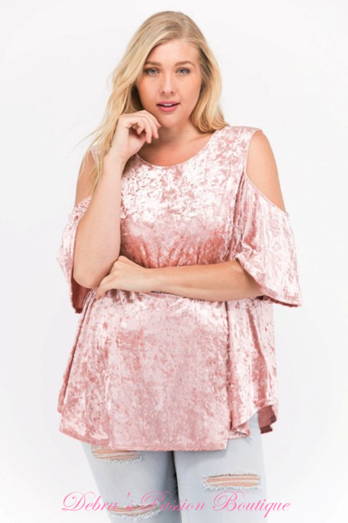127294c2046 Janette Plus Premium Plus Size Apparel Soft Crushed Velvet cold shoulder  swing babydoll tops. Keyhole