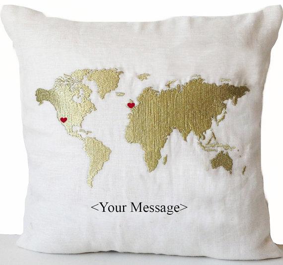 Long Distance Relationship Pillow Gold World Map Heart Custom