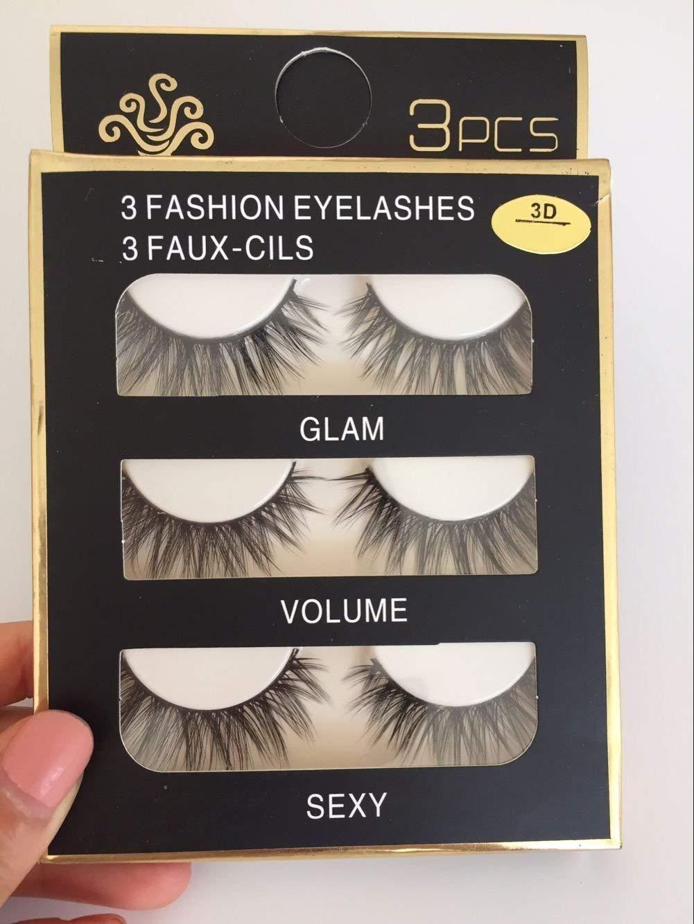 f4a927bbdf4 GLOW UP GODDESS 3D Mink False Eye lashes Handmade Reusable 3 Pairs # EyeLashes