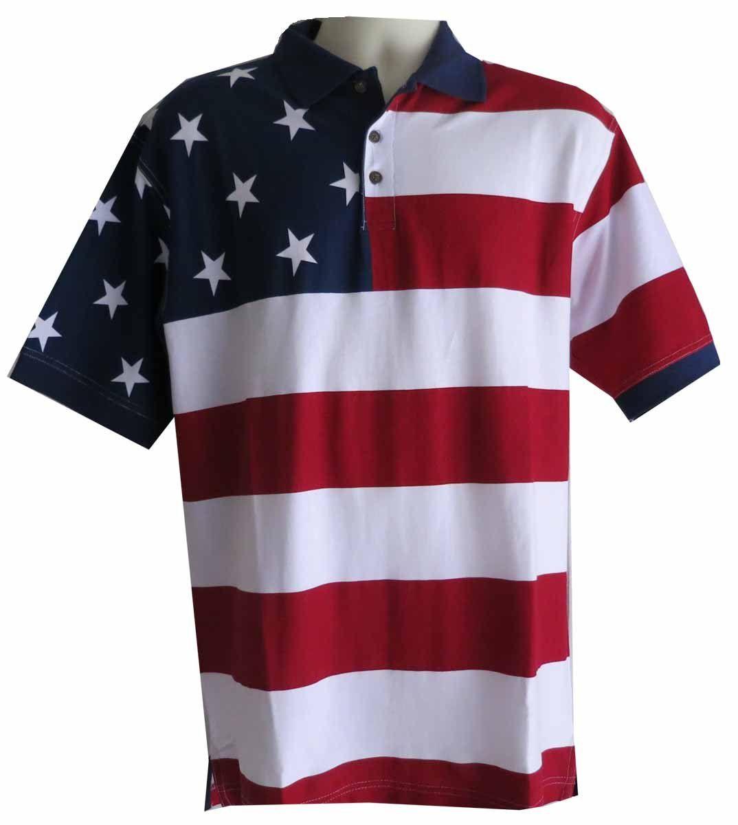 Stars Stripes Patriotic American Flag Polo Shirt For Men