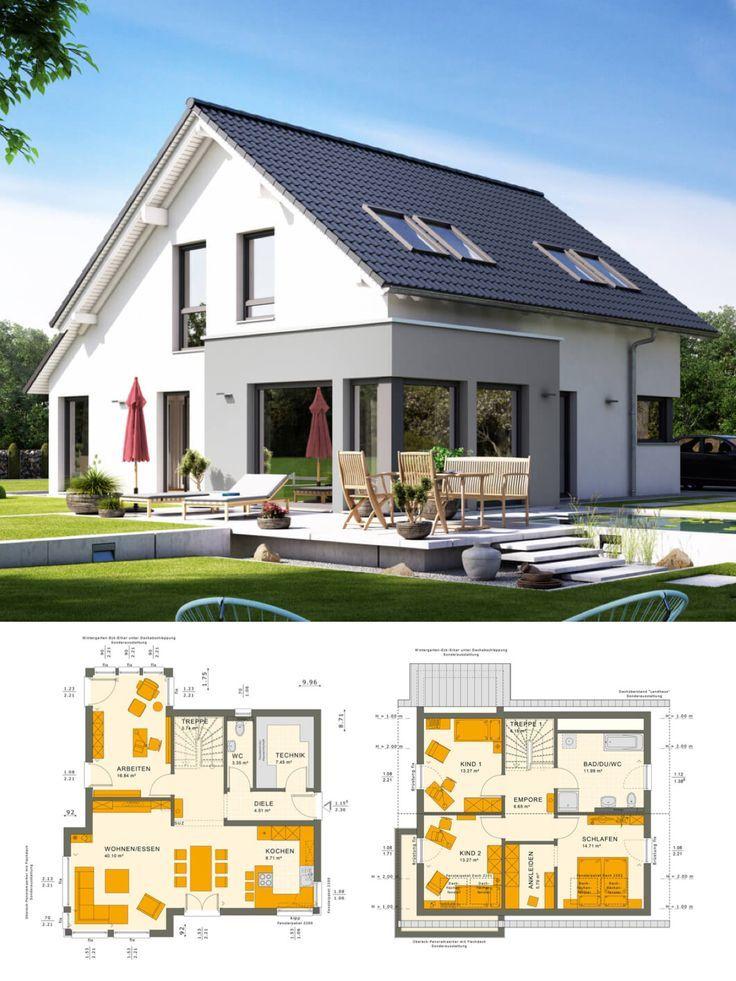 Klassische Einfamilienhaus Architektur Mit Satteldach U0026 Wintergarten Erker    Haus Bauen Ideen Grundriss Fertighaus Sunshine 143 V3 Livu2026