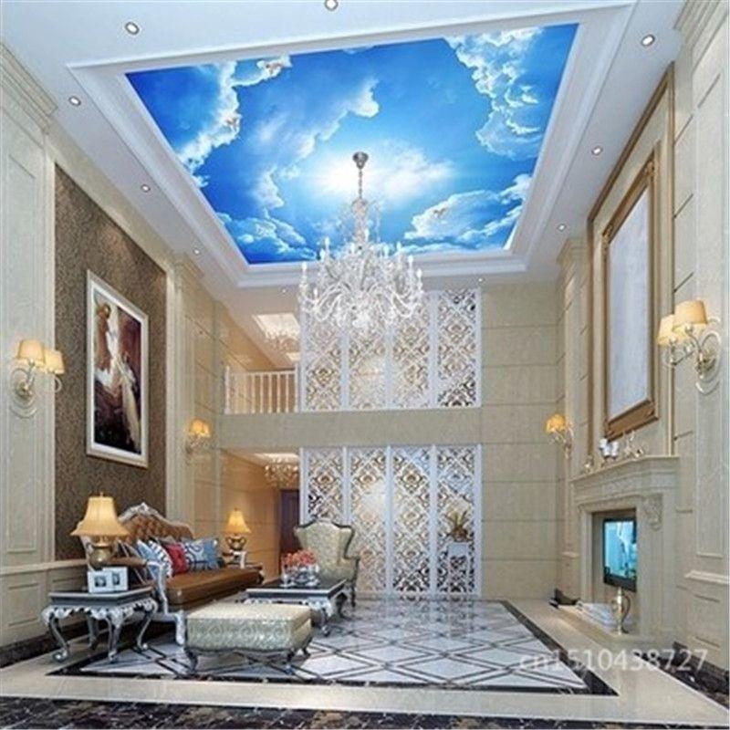 pas cher photo papier peint nuages ciel bleu et blanc. Black Bedroom Furniture Sets. Home Design Ideas