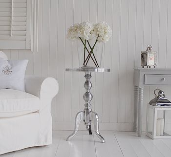 Polished Metal Side Table   White And Grey Living Room / Hall Furniture