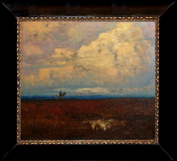 FERDINAND ENGELMÜLLER (1867 - 1924) Rider, oil on canvas, about 1900