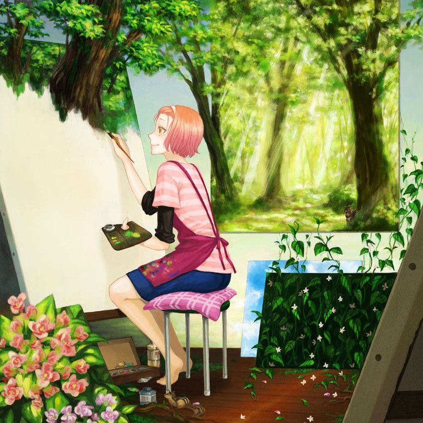 Anime Art Artist Painter Painting Canvas