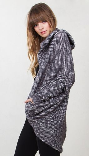 In The Hood Sweater* Speckled grey slouchy sweater cardigan that ...