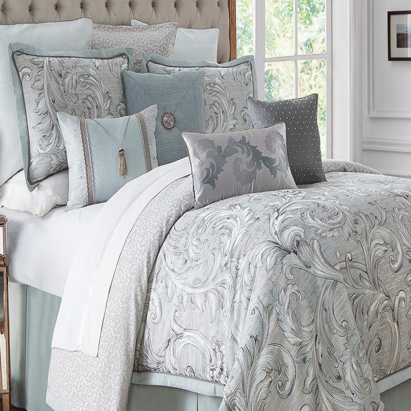 Farrah Aqua 4 Piece Reversible Comforter Set By Waterford Bedroom Comforter Sets Comforter Sets Hotel Bedding Sets