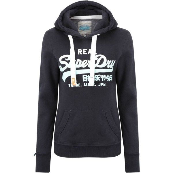 Superdry Vintage Logo Hoodie featuring polyvore, fashion, clothing, tops,  hoodies, navy, women, superdry hoodie, logo hoodies, hooded pullover, navy  blue ... 9e4582db07