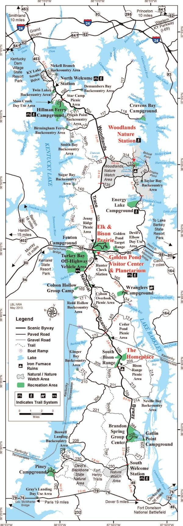 Landbetweenthelakesmapfull Ky Hiking And Camping - Map of kentucky usa