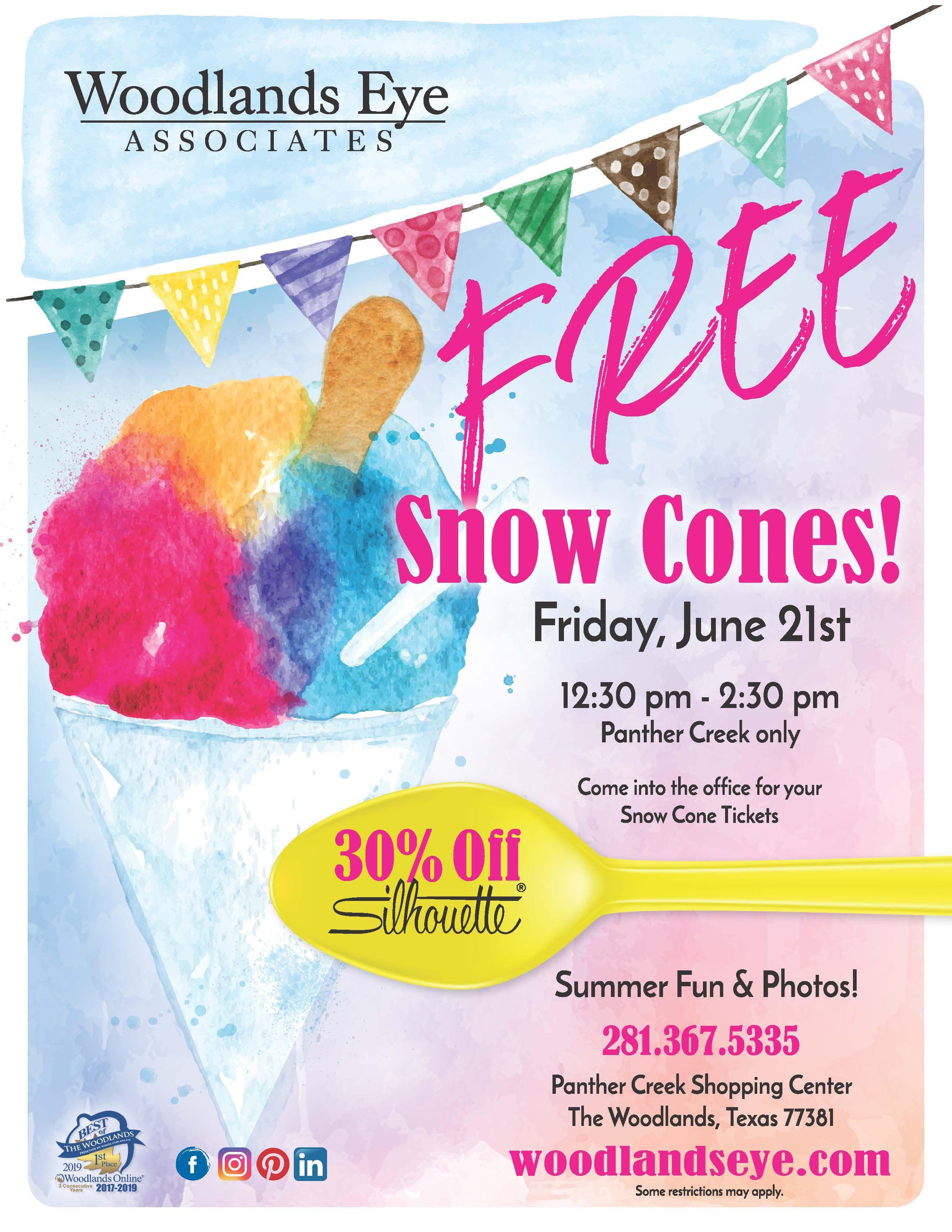 Free Snow Cones! Snow cones, Eye care, Cones