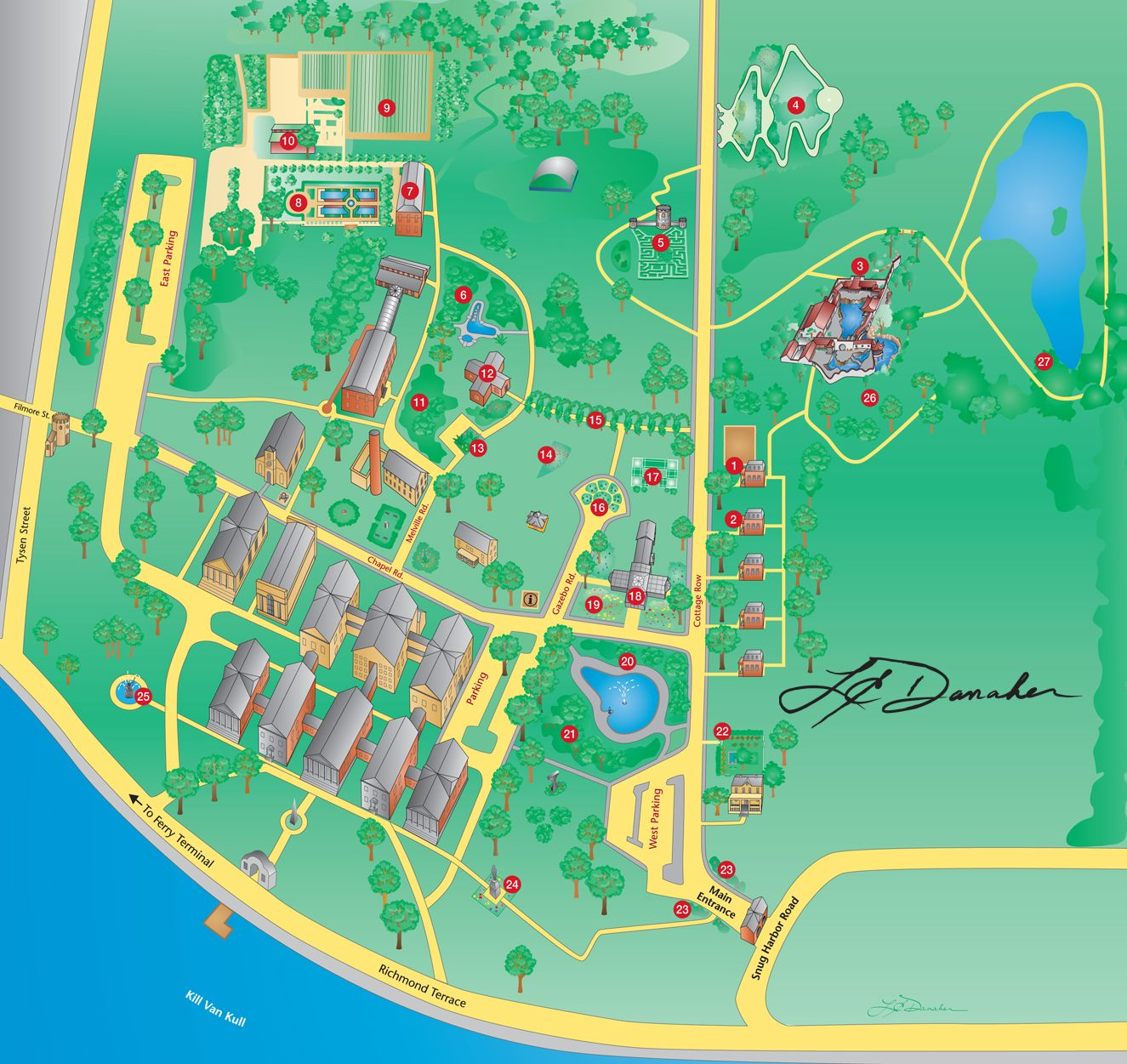 Map Of Snug Harbor Cultural Center, The Staten Island Botanical Garden And  The New York