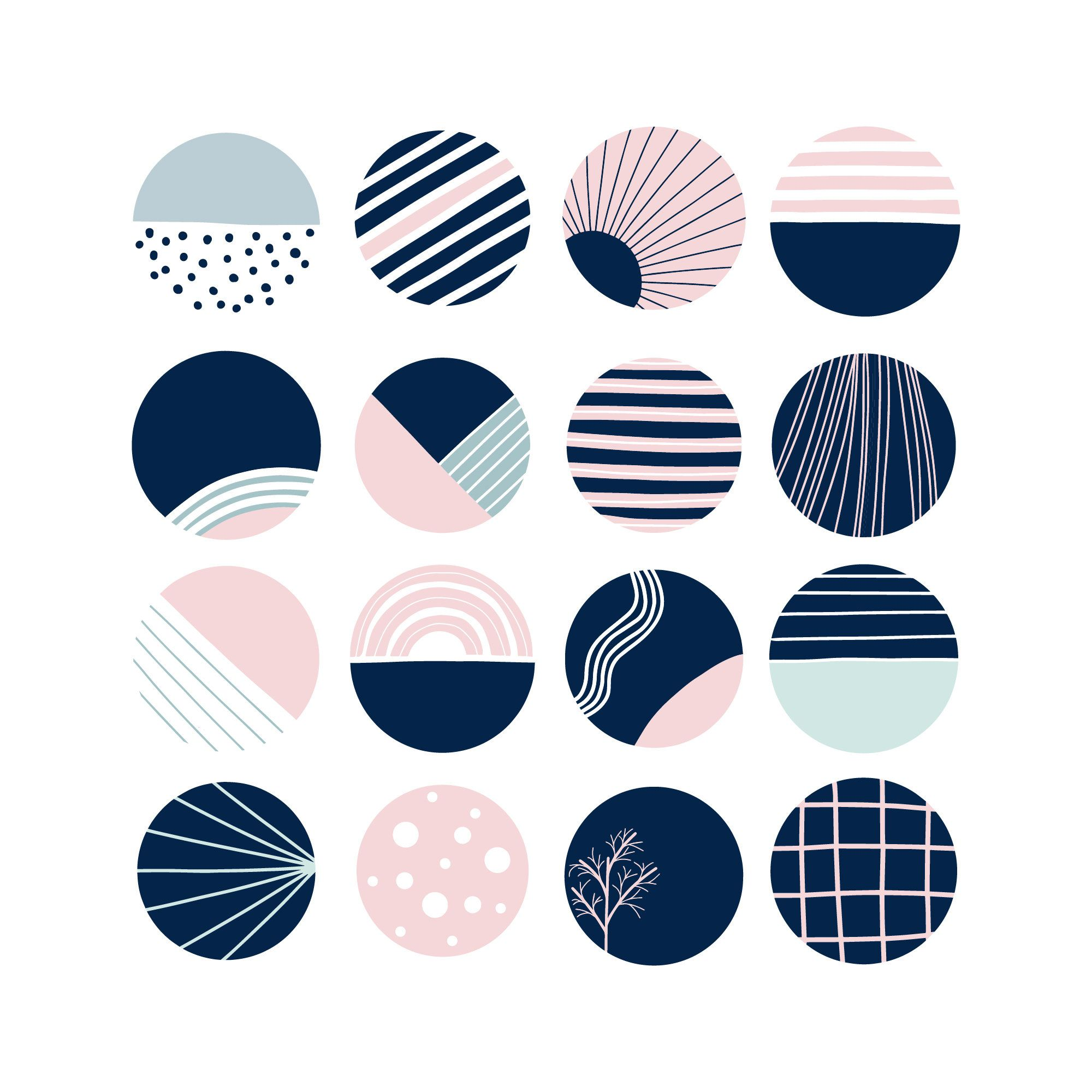 Blue pink instagram story highlight icons nautical pattern