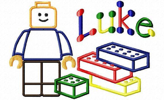 Building block man and building block applique by MollieMonograms